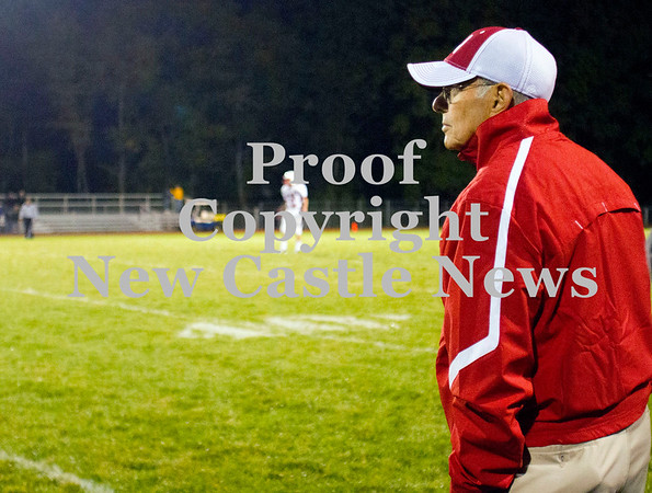 Scott R. Galvin / NEWS<br /> <br /> Neshannock assistant coach Frank Bongivengo watches the game against Shenango during the fourth quarter on Saturday.