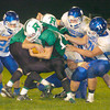 Erica Galvin/NEWS<br /> The Ellwood City defense swarms Riverside's Brent Mulneix  in the first half.