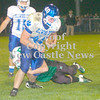 Erica Galvin/NEWS<br /> Ellwood City running back Beau Ewing runs for extra yardage as Riverside's Brent Mulneix makes the tackle.
