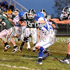 Courtney Caughey-Stambul/NEWS<br /> Laurel's Josh Dando fights for yards against Union.