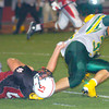 Erica Galvin/NEWS<br /> New Castle's Nik Berry tackles Blackhawk running back Cole Chiappialle in the fourth quarter.
