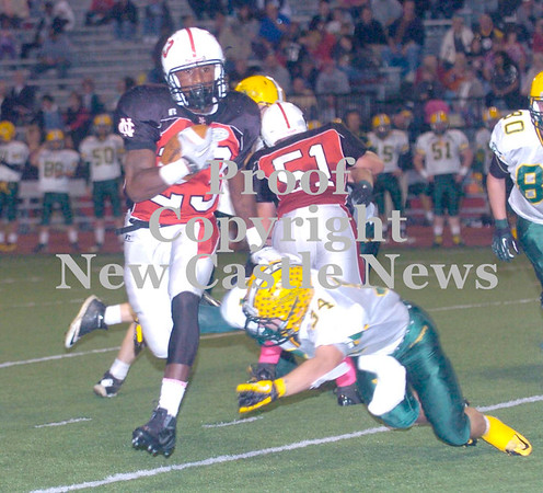 Erica Galvin/NEWS<br /> Malik Hooker stiff arms Blackhawk defender, Cole Chiappialle in the second quarter.