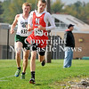 Courtney Caughey-Stambul/NEWS<br /> Neshannock's Rob Kroner, right, and Laurel's Ethan Wilson compete at Saturday's Tri-County Cross Country Championships at Neshannock High School. Wilson finished first in the boys varsity race, followed by Kroner.