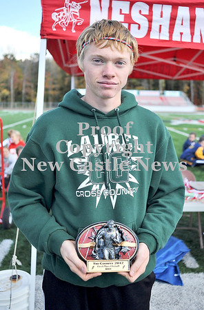 Courtney Caughey-Stambul/NEWS<br /> Laurel's Ethan Wilson places first in the boys varsity race on Saturday.