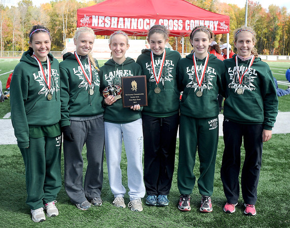 Courtney Caughey-Stambul/NEWS<br /> The Laurel girls cross country team is awarded first place at Saturday's Tri-County Cross Country Championships. From left: Erin Hassett, Allison Filer, Emily Maxwell, Brooke Dicks, Kristin Dicks and Katie Schrantz. Missing from photo: Kacee Caughey.
