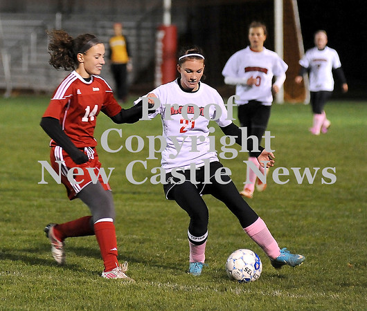 Courtney Caughey-Stambul/NEWS<br /> Mohawk's Amber Dougherty protects the ball from Neshannock's Alyssa DeMatteo.