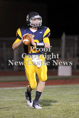 Courtney Caughey-Stambul/NEWS<br /> Shenango's Brian Tanner searches for an open receiver on Saturday.