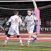 Courtney Caughey-Stambul/NEWS<br /> Neshannock's Connor Richards, right, celebrates with teammate, Zack Scott, after scoring a goal against Central Valley.
