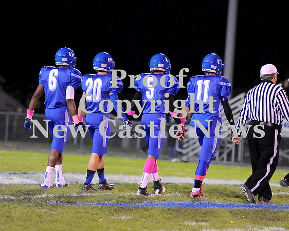 Courtney Caughey-Stambul/NEWS<br /> Union captains take the field to face South Side Beaver. From left: Elijah Williams, Wayne Seamans, Tyrone May III and Joe Salmen.