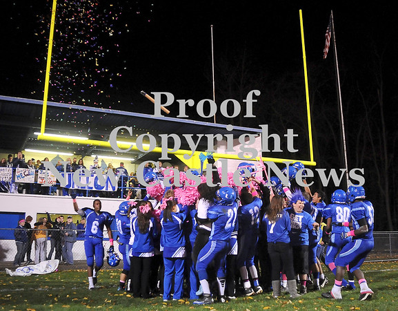 Courtney Caughey-Stambul/NEWS<br /> Union players, fans and cheerleaders celebrate last night's victory over South Side Beaver.