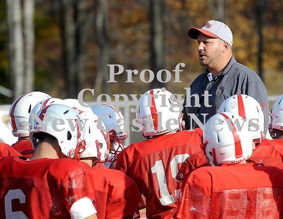 Courtney Caughey-Stambul/NEWS<br /> Neshannock coach Fred Mozzocio talks with his team before practice on Monday.