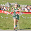 Erica Galvin/NEWS<br /> Laurel's Emily Maxwell crosses the finish line first during the WPIAL Class A Championship at Cooper's Lake.