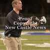 Erica Galvin/NEWS<br /> New Castle Head Coach Joe Cowert argues a ruffing the kicker penalty in the second half.