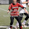 Courtney Caughey-Stambul/NEWS<br /> Mohawk's Amber Dougherty controls the soccer ball.