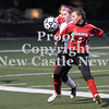 Courtney Caughey-Stambul/NEWS<br /> Mohawk's Mikala Mangino protects the soccer ball from a Sewickley Academy player last night.