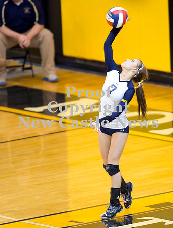 Scott R. Galvin / NEWS<br /> Shenango's Jade Espizito serves the ball during the third set against West Shamokin in the WPIAL girls volleyball playoffs yesterday at North Allegheny High School.  Shenango lost all three sets ending their season.