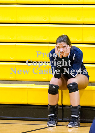 Scott R. Galvin / NEWS<br /> Shenango's Sophia Koury sits along on the bleachers following the team's loss to West Shamokin during the WPIAL girls volleyball playoff yesterday.