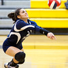 Scott R. Galvin / NEWS<br /> Shenango's Angelina Sibeto lunges to bump the ball in the first of three sets against West Shamokin during the WPIAL playoffs at North Allegheny High School yesterday.  Shenango lost all three sets, ending their season.