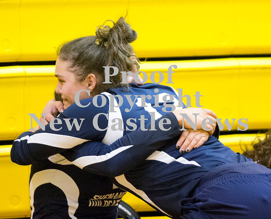 Scott R. Galvin / NEWS<br /> Shenango's Amanda Herb (12) gives teammate Sophia Koury a hug following the team's loss to West Shamokin during the WPIAL girls volleyball playoff yesterday.