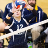 Scott R. Galvin / NEWS<br /> Shenango's Amanda Herb sets the ball in the second of three sets against West Shamokin during the WPIAL playoffs at North Allegheny High School yesterday.  Shenango lost all three sets, ending their season.