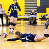Scott R. Galvin / NEWS<br /> Shenango's Sophia Koury dives for the ball during the third set against West Shamokin in the WPIAL girls volleyball playoffs yesterday.  Shenango ended their season after losing all three sets.