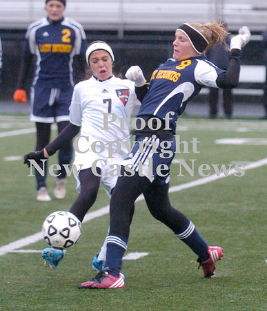 Erica Galvin/NEWS<br /> Wilmington's Madison Huff and Fariview's Ashley Lewis battle for the ball in the first half.