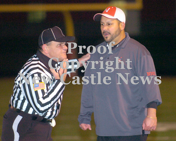 Erica Galvin/NEWS<br /> Head Coach Fred Mozzocio questions one of the officials after one of his players was ejected from the game in second quarter.
