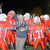 Erica Galvin/NEWS<br /> Neshannock head coach Fred Mozzocio celebrates with his team after defeating Monessen 24-21.