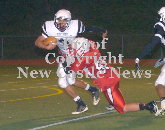 Erica Galvin/NEWS<br /> Neshannock's Ralph Dovidio sacks quarterback Chavas Rawlins in the second quarter.