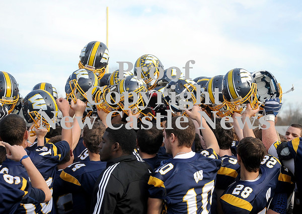 Courtney Caughey-Stambul/NEWS<br /> Wilmington players celebrate Saturday's win over Fairview at Grove City High School.