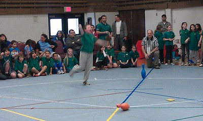 Noah nailed the pin on his first throw but as you can see is over the line. So was the other player so they had to redo it. Fortunately, he nailed it again and won the round.