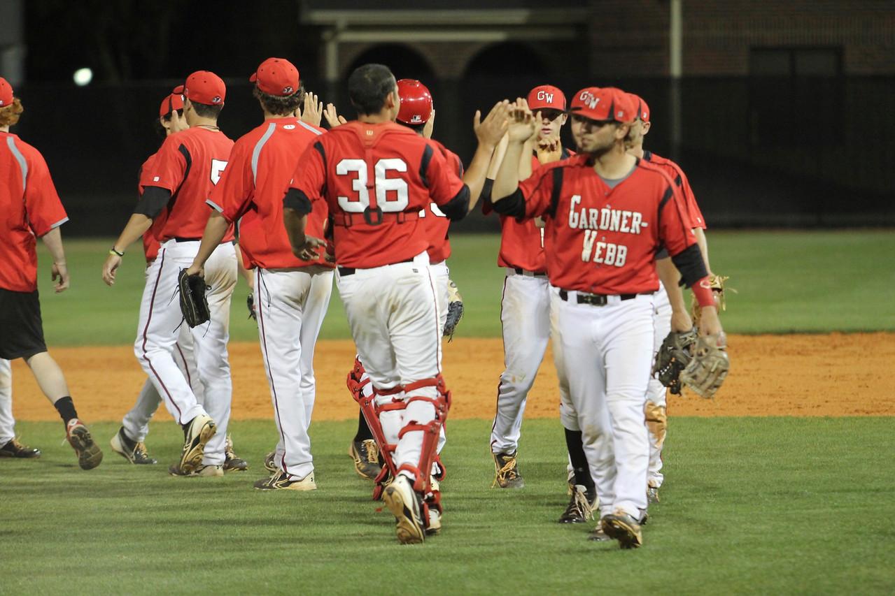 The team celebrates their victory over Western Carolina.
