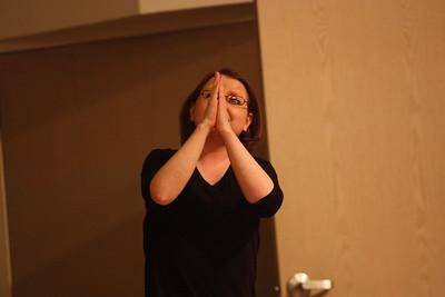 Rebecca Priest performs her senior poem during Deaf Performance Night