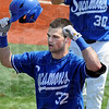 Oh yeah: Indiana State's #32 Jeremy Lucas celebrates his home run blast during game action against Illinois State Sunday afternoon. .