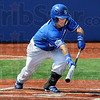 Bunt: Indiana State's #5, Koby Kraemer bunts the ball during game action against Illinois State Sunday afternoon at Bob Warn Field.