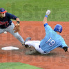 Safe: Indiana State's #19, Robby Ort makes it safely to second base during game action Sunday afternoon. Dallas Baptist infielder #12, Joel Hutter mishandles the throw.
