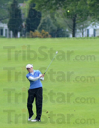 Approach: Indiana State's Emily Dixon hits her final approach to the 18th green during Sunday's Missouri Valley Conference play at the Terre Haute Country Club.