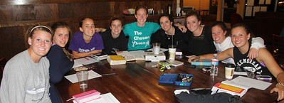 Students meet at Broad River Coffee Company for Chelsea Hearne's weekly Bible study.