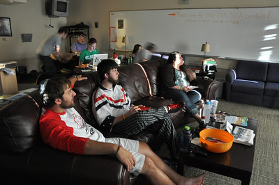 """Dr. Berry's Intro to Judaism class eats dinner and watches """"Boy in the Striped Pajamas"""" in Lindsay Hall on April 12, 2012."""