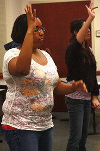 Joyful Hands practices for upcoming performances on Wednesday, April 11th.
