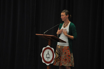 SGA hosts Senior Pinning in the LYCC on April 1st, 2012. Family and friends of the seniors came to show their love and support for their seniors. Chelsea Hearne gives a speech to her fellow students.