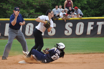 Savannah Burns defends 2nd vs Charleston Southern on April 21, 2012.