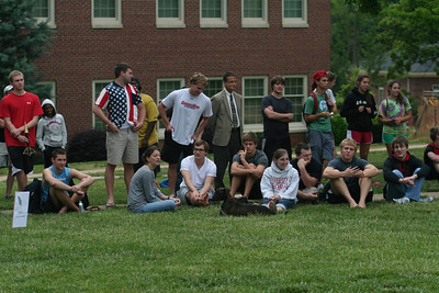 Students watch the rocket contest.