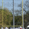 Tribune-Star/Joseph C. Garza<br /> Video surveillance: The Indiana State football team forms up at the east side of the field near a new video camera tower at Memorial Stadium Friday, June 6.
