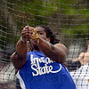 Tribune-Star/Joseph C. Garza<br /> Accurate strength: Indiana State's Felisha Johnson spins into her throw during the hammer throw competition of the ISU Pacesetter Invitational Friday at Marks Field.