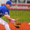Tribune-Star/Jim Avelis<br /> Good hands: Indiana State shortstop and West Vigo product Tyler Wampler gloves a ground ball in early action against Dallas Baptist Friday night at Warn Field.