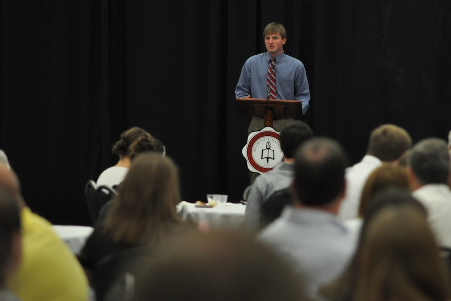 SGA hosts Senior Pinning in the LYCC on April 1st, 2012. Family and friends of the seniors came to show their love and support for their seniors. Derek Breakfield gives a speech to his fellow students.