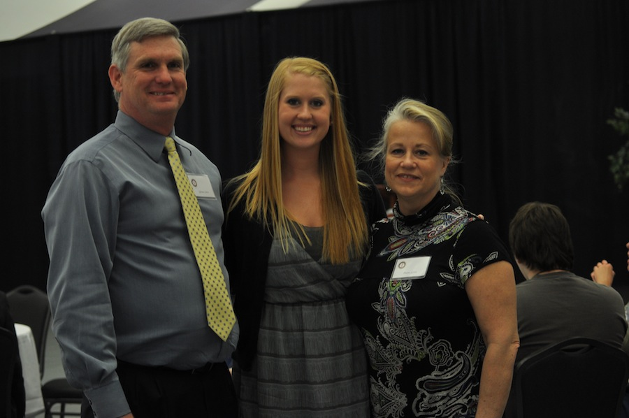 SGA hosts Senior Pinning in the LYCC on April 1st, 2012. Family and friends of the seniors came to show their love and support for their seniors. Jordan Love with her parents.
