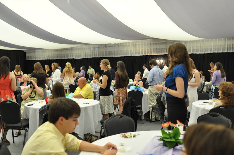 SGA hosts Senior Pinning in the LYCC on April 1st, 2012. Family and friends of the seniors came to show their love and support for their seniors. The seniors stand to be honored.