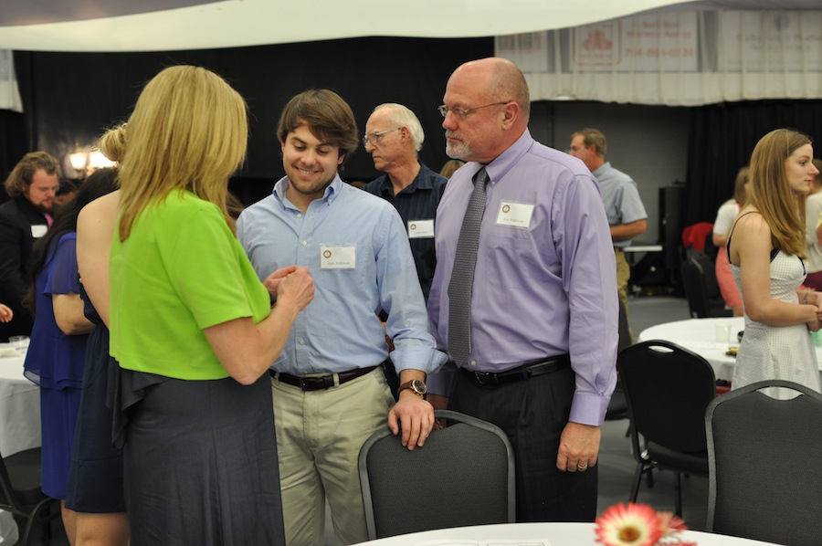 SGA hosts Senior Pinning in the LYCC on April 1st, 2012. Family and friends of the seniors came to show their love and support for their seniors. Kyle Wilkinson is pinned by his parents.